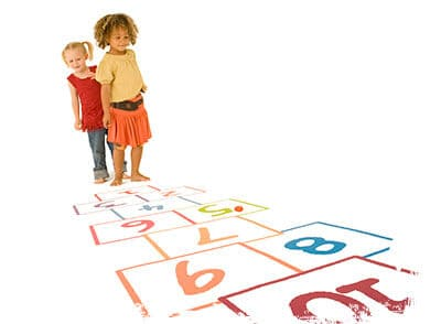 Kids Playing Indoor Hopscotch - Brenna's Blog - Rainy Day Activities - Martin, Harding & Mazzotti 1800law1010